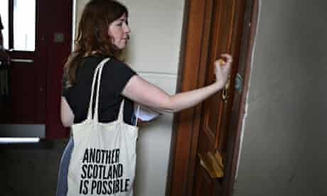 A Radical Independence Campaign activist canvasses in Glasgow's Gorbals district,