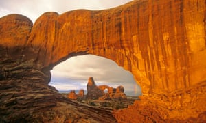 Turret Arch viewed through North Window at Arches National Park, Utah, USA