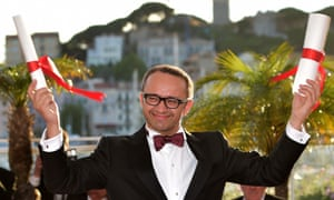 Russian actor and director Andrey Zvyagintsev poses with the Award for Best Screenplay for Leviathan at Cannes. Photograph: Bertrand Langlois/AFP/Getty Images
