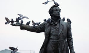 Birds perch on the monument of famous Russian poet Aleksander Pushkin, in front of the Russian Museum, in St Petersburg, in 2009. He was is known partly for his liberal use of swear words.