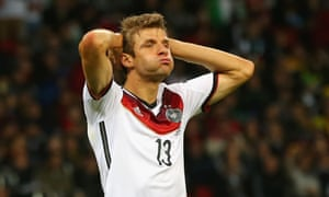 Thomas Mueller of Germany reacts after a missed chance.