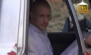 Bowe Bergdahl in a video showing his release.