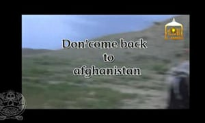 A still from the video showing Bowe Bergdahl's release.
