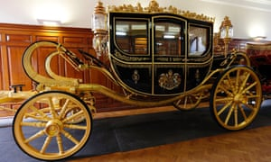 The new Diamond Jubilee state coach which will be used by the Queen during the state opening of parliament.