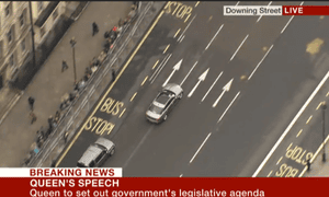 David Cameron's car heads for the Commons