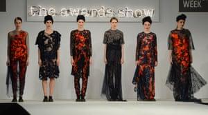 Models wearing creations by Bath Spa University designer Grace Weller