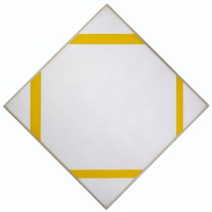 Lozenge Composition with Four Yellow Lines, 1933 from the Mondrian and Colour exhibit at Turner Contemporary.