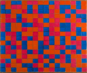 Composition with Grid 8: Checker board Composition with Dark Colours, 1919 from Mondrian and Colour at Turner Contemporary.