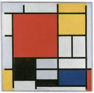 Composition with Large Red Plane, Yellow, Black, Grey and Blue, 1921 from Mondrian and Colour at Turner Contemporary.