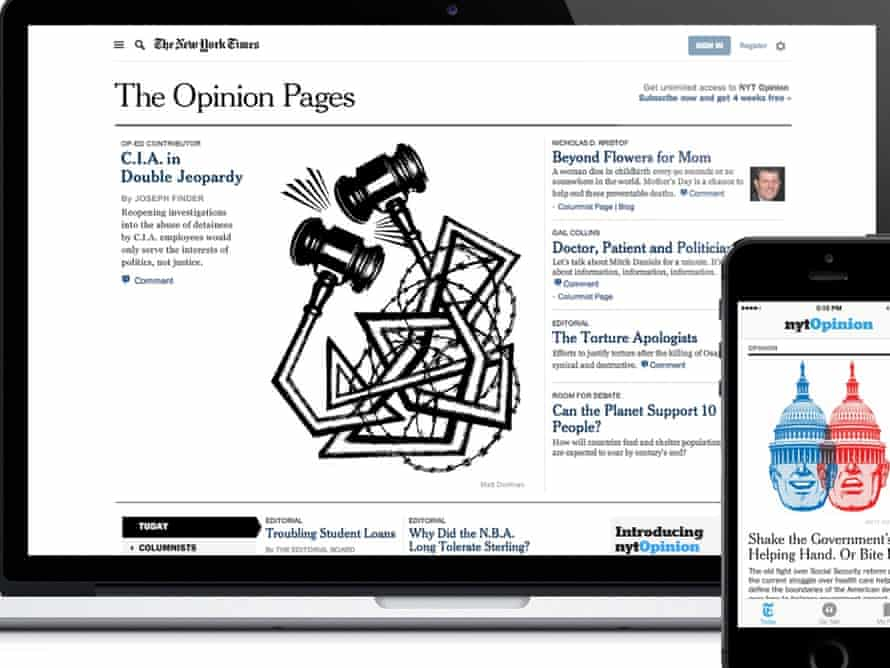 The NYT Opinion app and homepage.