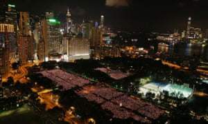 A wide view showing the size of the memorial crowd in Victoria Park in Hong Kong.