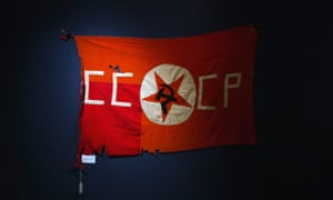 A Soviet Union flag is displayed during preview day for an auction of World War Two artefacts in New York in 2014.