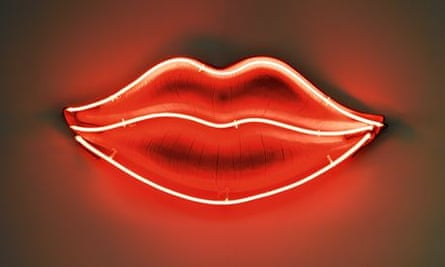 A neon lips sign
