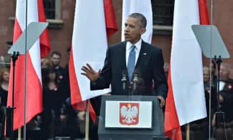 Barack Obama addresses the gathering in Warsawb
