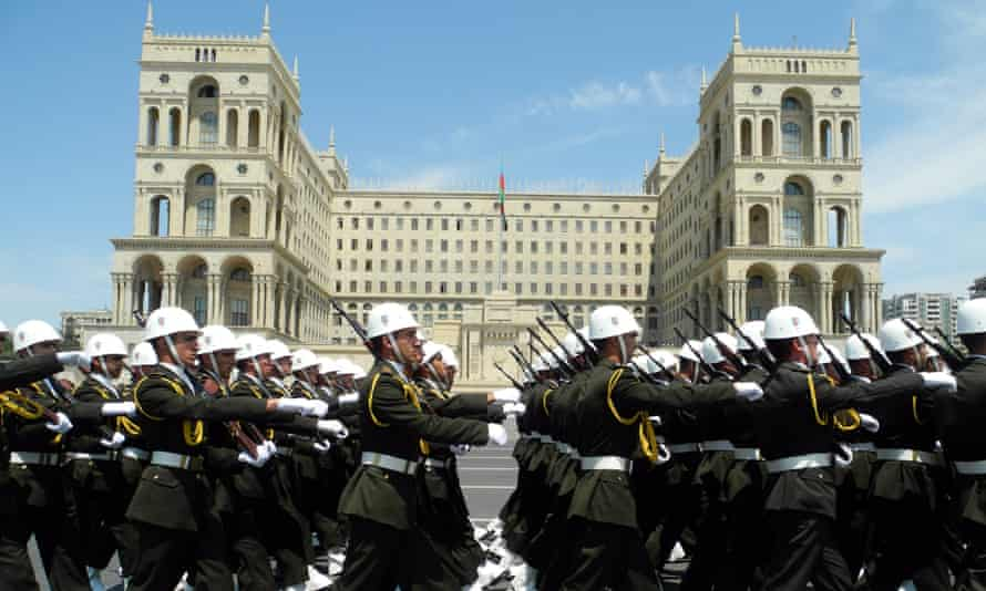 Military academy cadets parade to mark the nation's Republic Day in central Baku, the capital of Azerbaijan, in May 2014.