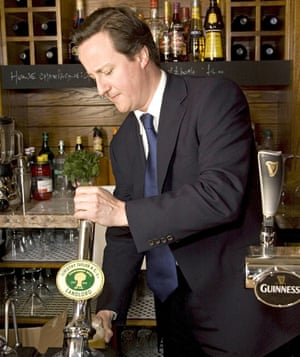 David Cameron at the reopening of the Maytime Inn, in Asthall, Burford, Oxfordshire. Photograph: Dav