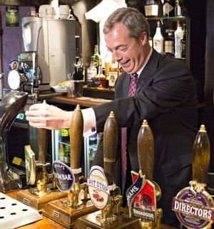 Nigel Farage at the Hoy and Helmet in South Benfleet, Essex. Photograph: Simon Ford/Rex