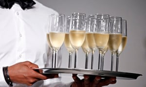Tray of champagne glasses
