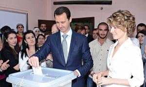 Bashar al-Assad casting his vote