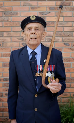 British Normandy veteran George Clarkson, who was a Royal Engineer, attends a civic function outside the town hall in the village of Thury-Harcourt.