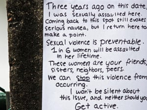 anti-rape poster on a tree