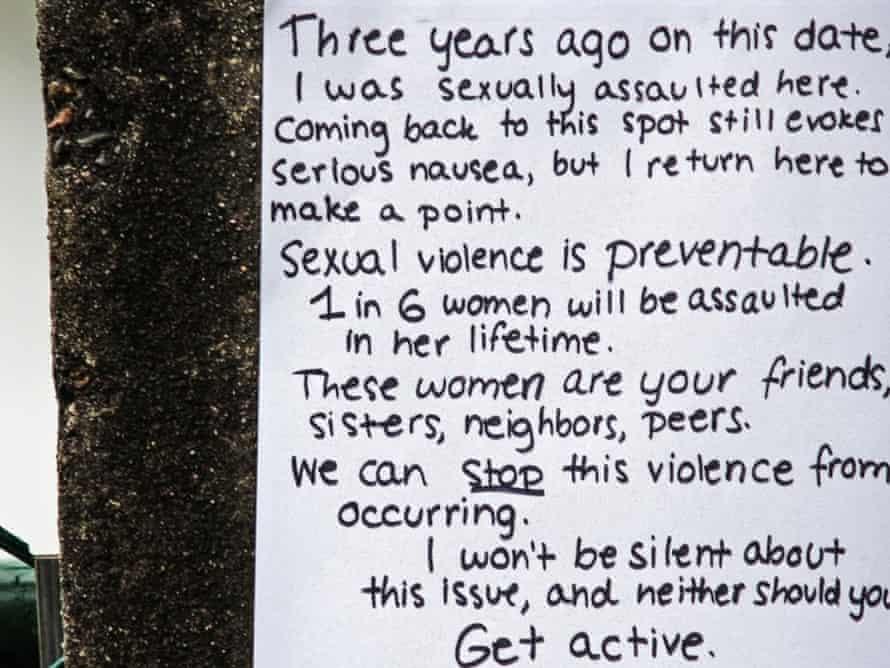 anti-rape poster on a tree
