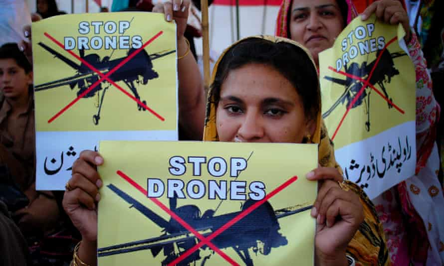 Pakistan women take part in a rally against the US drone strikes.