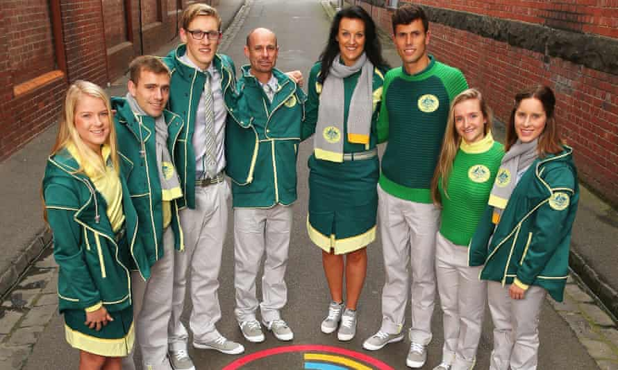 Athletes pose during the 2014 Australian Commonwealth Games team formal uniform unveiling.