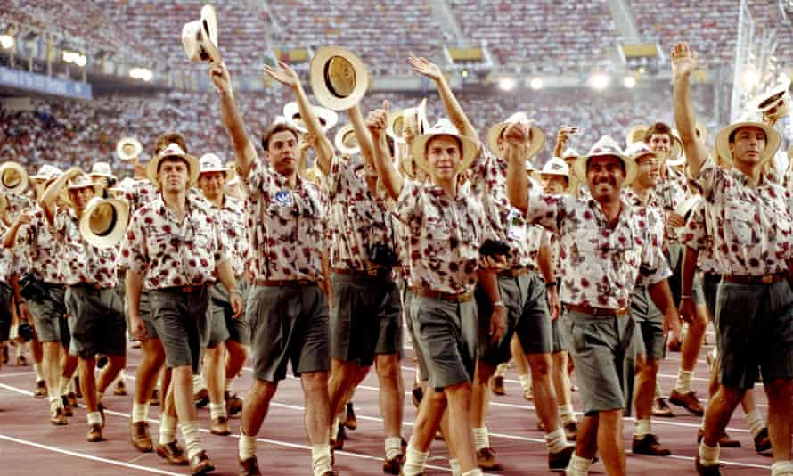 25 Jul 1992:  The Australian team parade during the opening ceremony  of the Barcelona Olympic Games in Spain.
