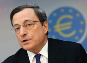 President of European Central Bank Mario Draghi speaks during a news conference in Frankfurt, Germany.