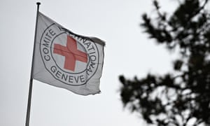 International Committee of the Red Cross flag above its headquarters in Geneva