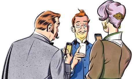 Illustration of old-fashioned ladies and gents with smart phones