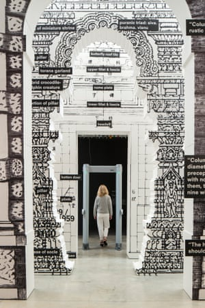 The door room consists of a series of 1:1 mock-ups of various symbolic historical doors, from China, India, Italy and USA, as well as an airport-style security scanner.