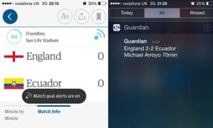 Screenshot of goal alerts on iPhone