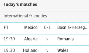 Screenshot of today's matches football page on iPhone