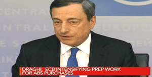 ECB chief Mario Draghi discusses asset-backed securities