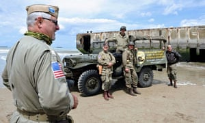 D-day: Men in vintage US military uniforms