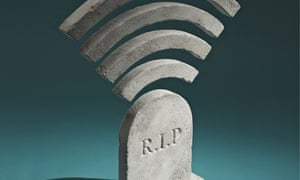 Illustration of a headstone with a mobile phone reception icon