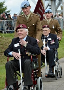 D-day veterans were joined by serving officers at Pegasus Bridge, Normandy