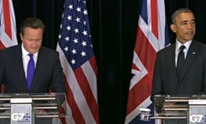 David Cameron and Barack Obama give a joint press conference in Brussels on 5 June 2014.