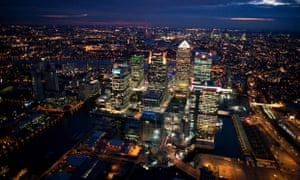 Aerial night view of Canary Wharf in the Docklands