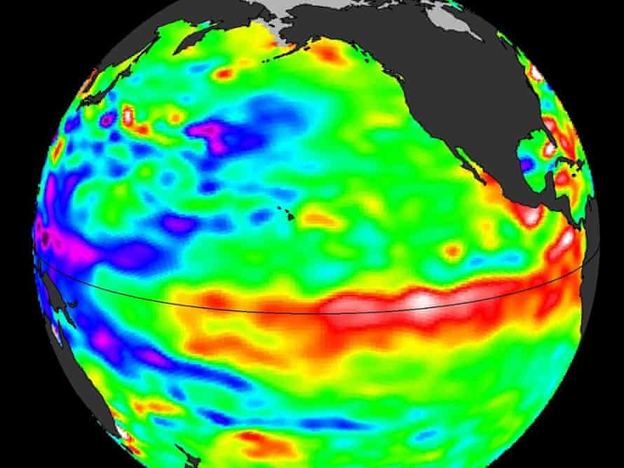 Data from ocean-observing satellite Jason 2 indicate that El Nino conditions appear to be developing in the equatorial Pacific Ocean bearing some similarities to those of May 1997, a year that brought one of the most potent El Nino events of the 20th century. Shades of red and orange indicate where the water is warmer and above normal sea level.