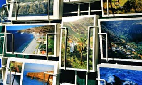 Postcards in a rack