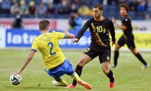 Belgium's midfielder Eden Hazard and Swe