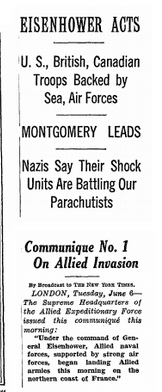Front page of the New York Times, 6 June 1944.