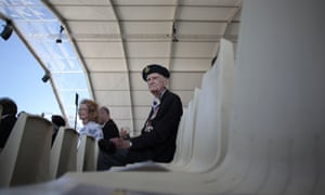 Canadian veteran Richard Brown waits prior to the start of the international D-Day commemoration ceremony on the beach of Ouistreham.
