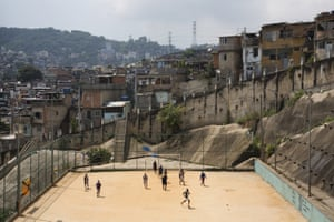 A community football pitch in the Sao Carlos favela, Rio de Janeiro, Brazil