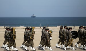 The international D-Day commemoration ceremony on the beach of Ouistreham, Normandy.
