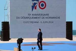 French President Francois Hollande during the international D-day commemoration ceremony on the beach of Ouistreham.