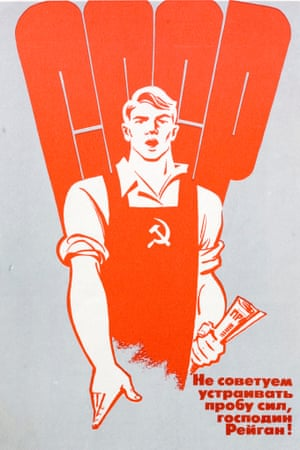 """Soviet propaganda poster from 1980s At the bottom is a slogan saying: I wouldn't suggest to use force Mr Reagan."""""""